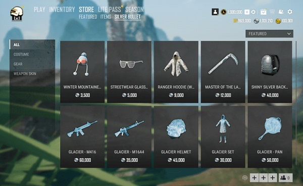 Many Items Are Put On Sale In Silver Bullet Store in PUBG Lite