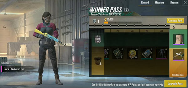 PUBG Mobile Lite Winner Pass - Dark Gladiator Set (Rank 30)