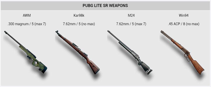 PUBG Lite SR Weapons