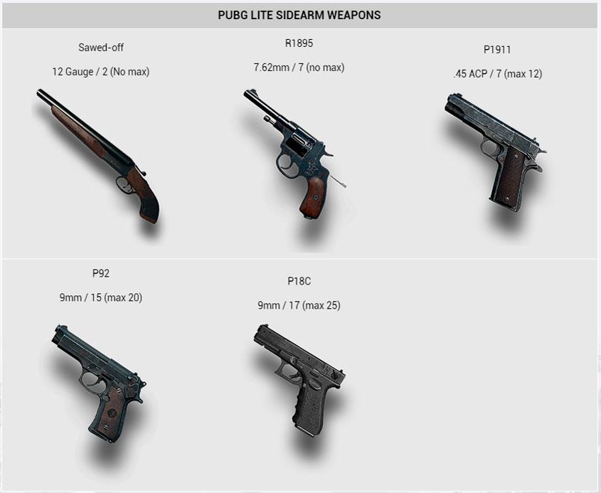 PUBG Lite Handgun Weapons