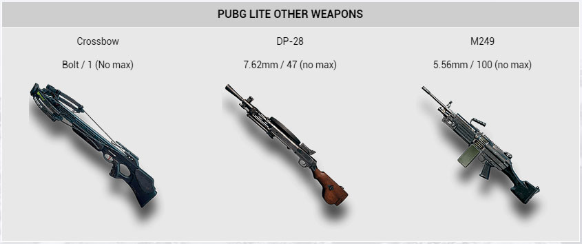 PUBG Lite LMG Weapons